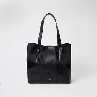 River Island Black leather blocked tote bag