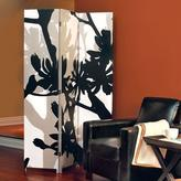 AZ Home and Gifts nexxt Bota 71 in. x 47.5 in. x 1 in. 3-Panel Taupe and Black Floral Design White Canvas Room Divider