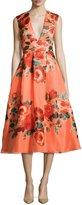 Lela Rose Floral Sleeveless V-Neck Midi Dress, Salmon/Multi