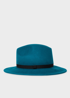 Paul Smith Women's Turquoise Wool Felt Fedora Hat With 'Swirl' Lining