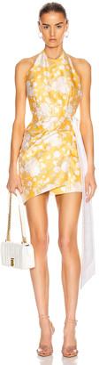MARKARIAN Bellini Mini Wrap Dress in Yellow Brocade | FWRD
