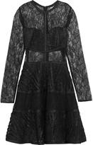 Alexis Adal satin-trimmed lace mini dress
