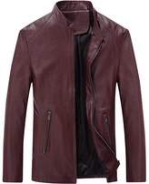 URBANFIND Men's Causal Slim Fit PU Leather Motorcycle Jacket US XL