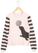 Milly Minis Girls' Embellished Crew Neck Sweater
