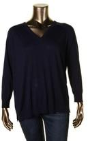 Lauren Ralph Lauren Womens Plus Modal-Silk Blend V-Neck Pullover Sweater