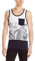 Southpole Men's Cut and Sewn Tank Top with Patterns and Solid Bottom