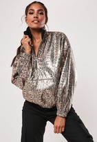 Missguided Bronze Snake Sequin Overhead Festival Jacket