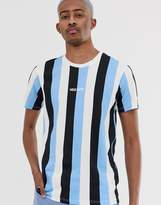 New Era striped t-shirt in blue-Red