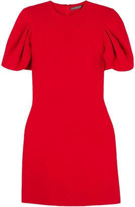Alexander McQueen Cape-effect Wool-blend Crepe Mini Dress