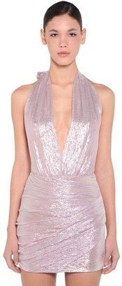 DSQUARED2 Ruched Silk Voile Lame Bodysuit
