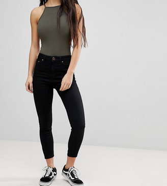 Asos DESIGN Petite Ridley high waisted skinny jeans in clean black
