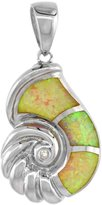 Sabrina Silver Sterling Silver Seashell Pendant Synthetic Opal Inlay Cubic Zirconia Accent, 1 1/8 inch tall