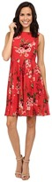 Adrianna Papell Printed Pleated Fit and Flare Dress