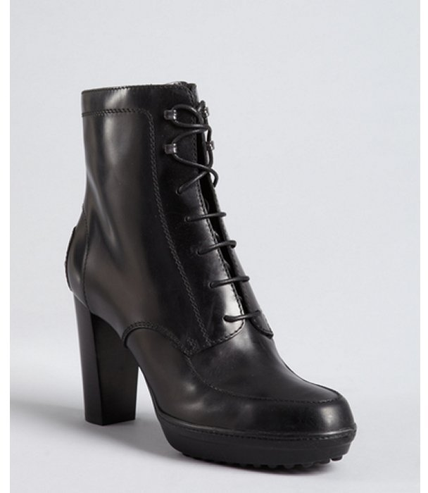 Tod's black leather lace up stacked heel ankle boots