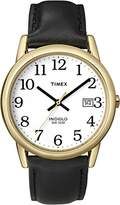 Timex Men's T2H291 Easy Reader Black Leather Strap Watch
