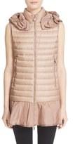 Moncler Women's 'Dorade' Water Resistant Peplum Hem Hooded Down Puffer Vest