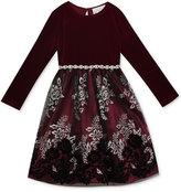 Rare Editions Flocked Glitter Mesh Skirt Party Dress, Toddler Girls (2T-5T) and Little Girls (4-6X)
