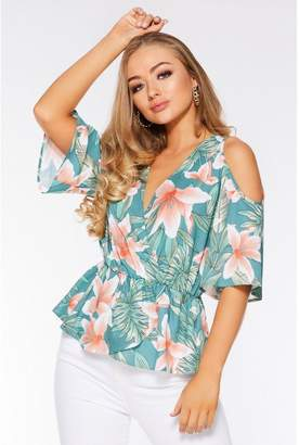 Quiz Green and Coral Tropical Cold Shoulder Top
