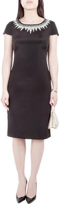 Mikael Aghal Black Silk Embellished Neckline Detail Dress S