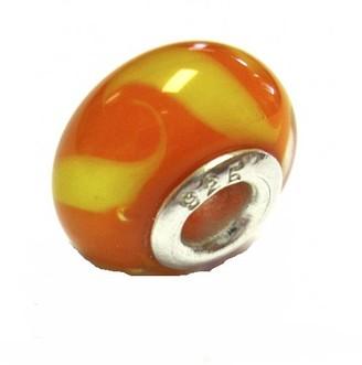 Jo for Girls Sterling Silver Orange Yellow Curls Murano Glass Bead