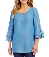 Intro 3/4 Ruffled Sleeve Grommet Embellished Denim Lyocell Top