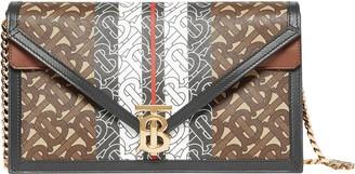 Burberry Small Monogram Stripe TB E-Canvas Envelope Clutch