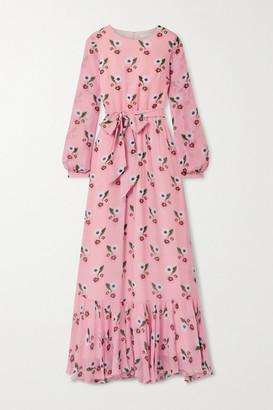 Borgo de Nor Belted Floral-print Silk-georgette Maxi Dress - Pink