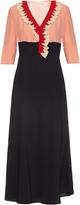 Marni Ruffle-trimmed silk-satin midi dress