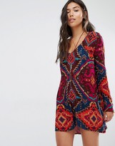 Billabong Dress With Long Sleeves And Button Front In Jazzy Print