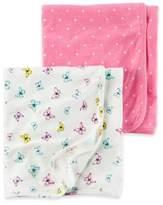 Carter's 2-Pack Butterfly/Polka Dot Swaddle Blankets