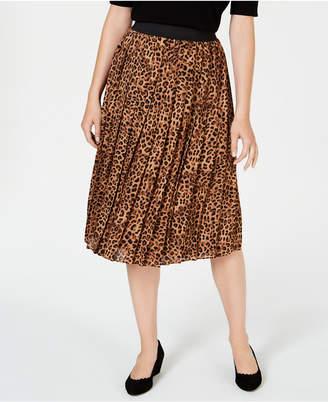 Charter Club Petite Printed Pleated A-Line Skirt