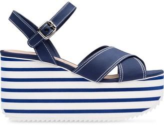 Miu Miu Gabardine Striped Platform Sandals