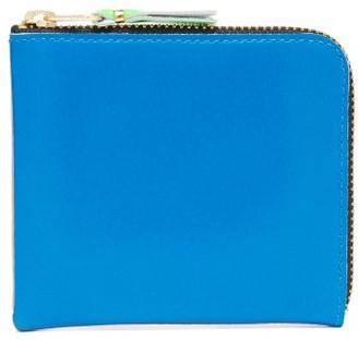 Comme des Garcons Fluorescent Leather Zip Wallet - Womens - Blue Multi