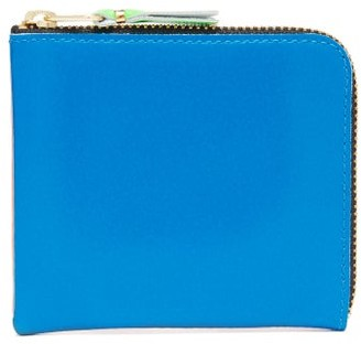 Comme des Garcons Zip-around Bi-colour Leather Wallet - Blue Multi