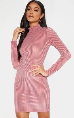 PrettyLittleThing Pink High Neck Velvet Sheer Rib Bodycon Dress