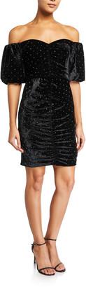Parker Black Arrabelle Off-the-Shoulder Velvet Dress w/ Crystals