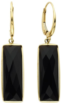 14k Gold Onyx Rectangle Drop Earrings