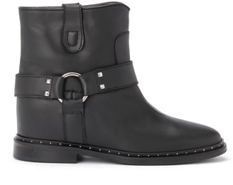 Black Leather Via Roma 15 Ankle Boot With Micro Studs And Strap