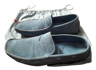 Prada Blue Suede Flats