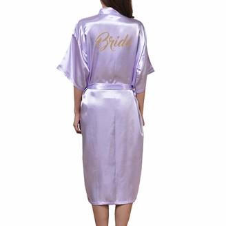 WEIMEITE Women's Long Bridal Robe Wedding Kimono Robe for Bride Wedding Party Dressing Gown Light Purple L