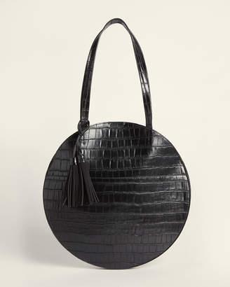 Street Level Black Croc-Embossed Round Shoulder Bag