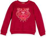 Kenzo Melange Logo Crewneck Sweatshirt, Deep Pink, Size 4-6
