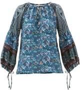 D'Ascoli Leela Floral-print Silk Blouse - Womens - Blue Print