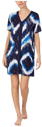 Donna Karan Modal Spandex Jersey Sleepshirt (Ink Diamond Ikat) Women's Pajama