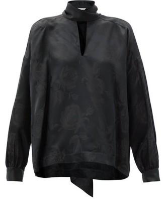 Balenciaga Tie-neck Floral-jacquard Blouse - Black Print
