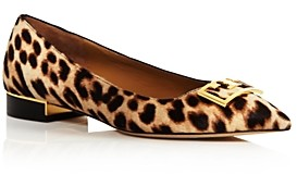 Tory Burch Women's Gigi Pointed Toe Leopard Print Flats