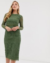 Asos Design DESIGN lace long sleeve midi pencil dress