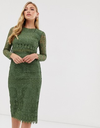 ASOS DESIGN lace long sleeve midi pencil dress