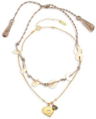Chan Luu Rose Goldplated Abalone, Moonstone & Mother-Of-Pearl Anklet
