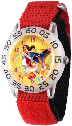 Disney Elena of Avalor and Skylar Girls' Clear Plastic Time Teacher Watch, Red Hook and Loop Nylon Strap with Black Backing